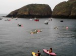 Kayaks leaving Creux Harbour