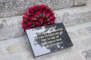 The plaque at the War Memorial
