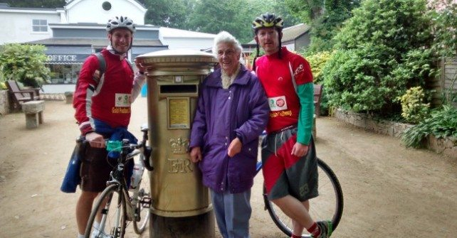 The Gold Post Box Challenge cyclists come to Sark